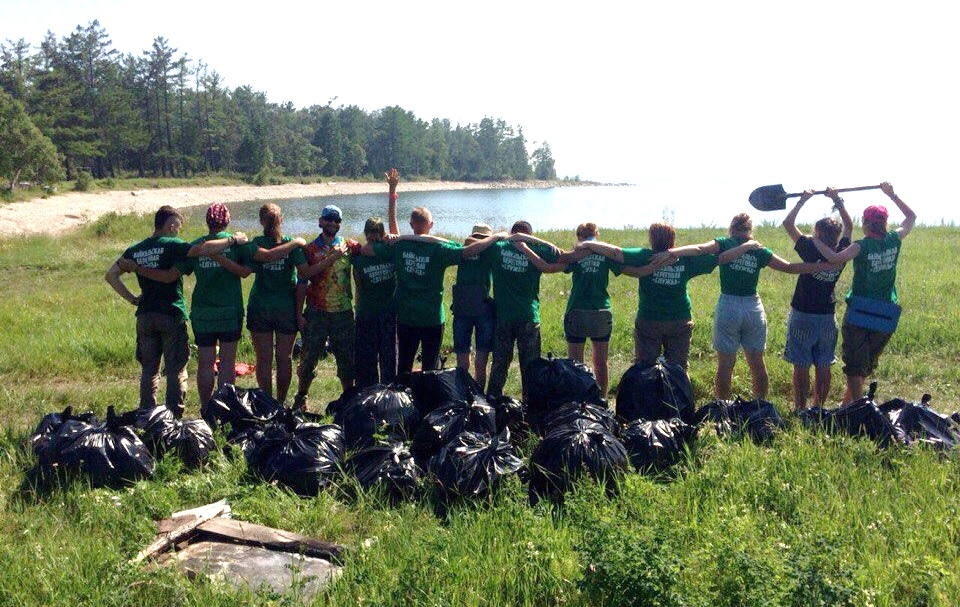 Shoreline cleanup campaigns on Baikal and Selenga